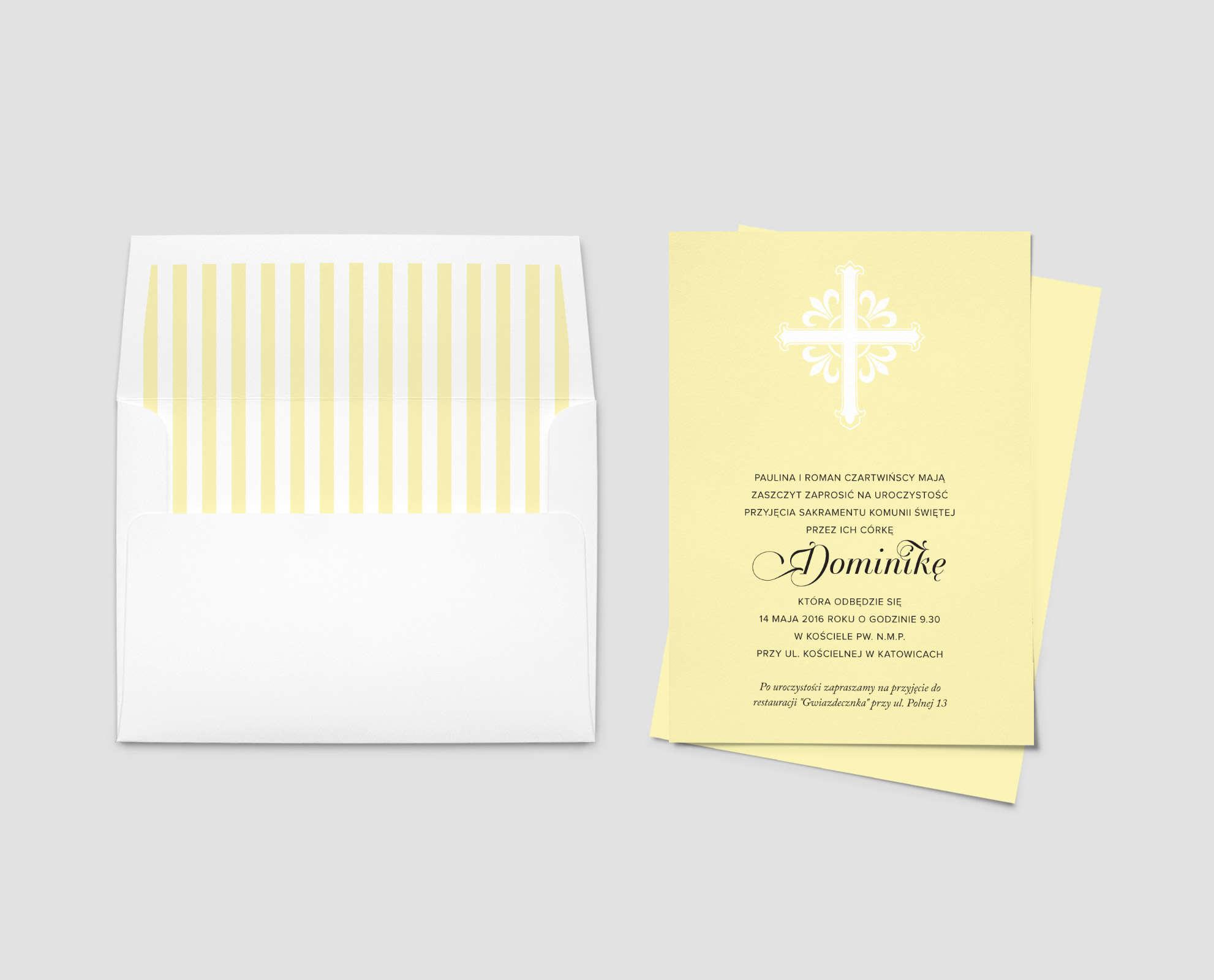 Żółte zaproszenie na chrzest z ładną czcionką