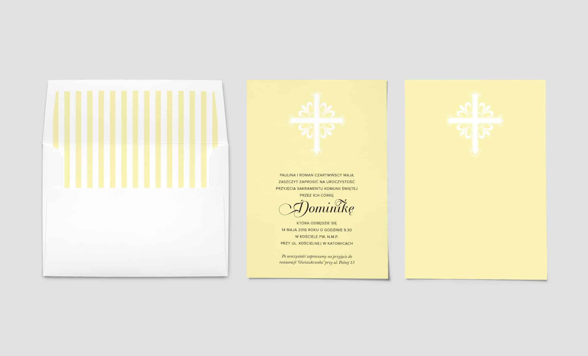 Eleganckie żółte zaproszenia na komunię z białą kopertą w paski