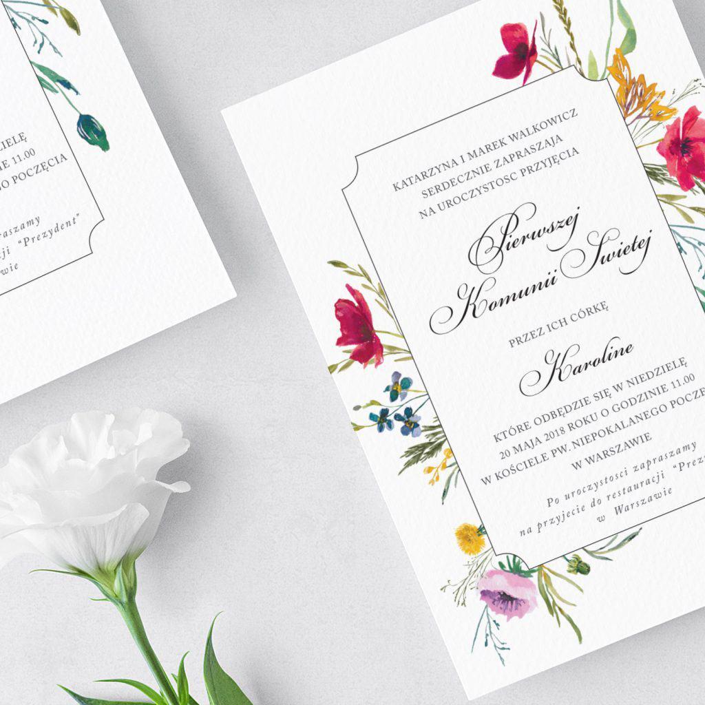Zaproszenia komunijne, maki, chabry, i tulipany. Proste i eleganckie