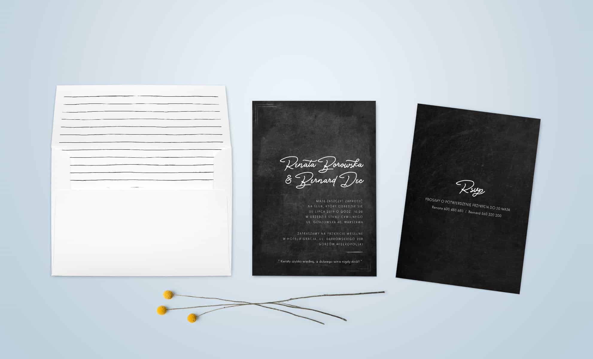 Zaproszenie w kolorystyce czarno-białej z ozdobną kopertą
