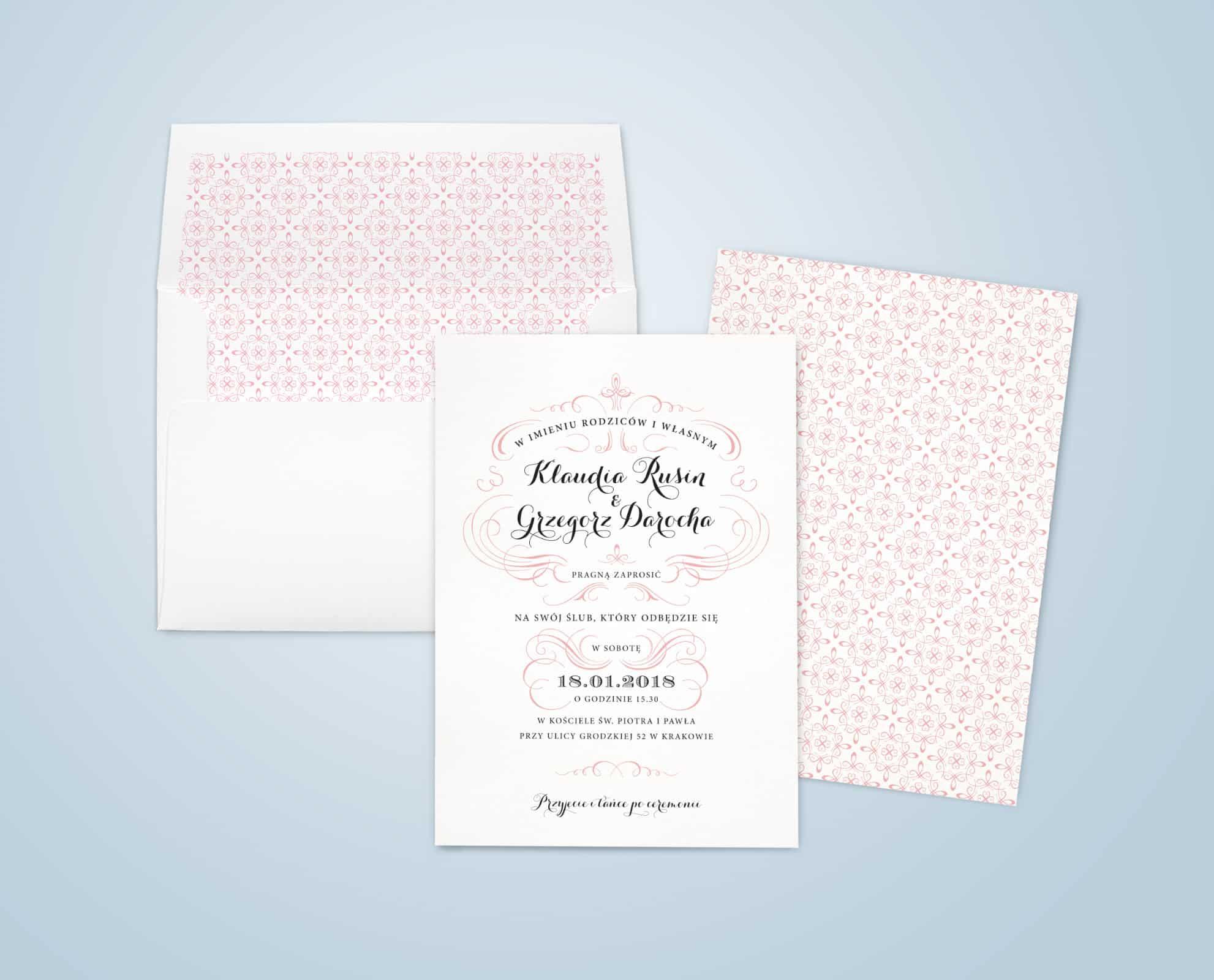 Zaproszenia ślubne vintage róż we francuskie wzory