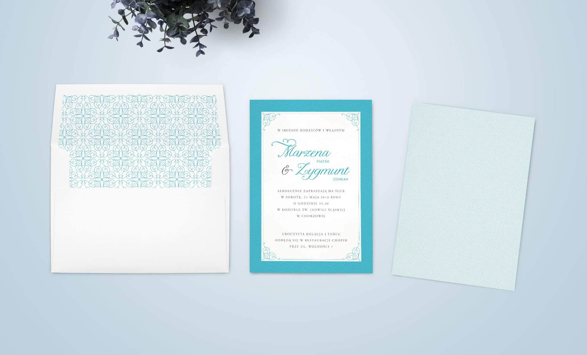 Zaproszenie w kolorze błękitu z ozdobami ornamentalnymi