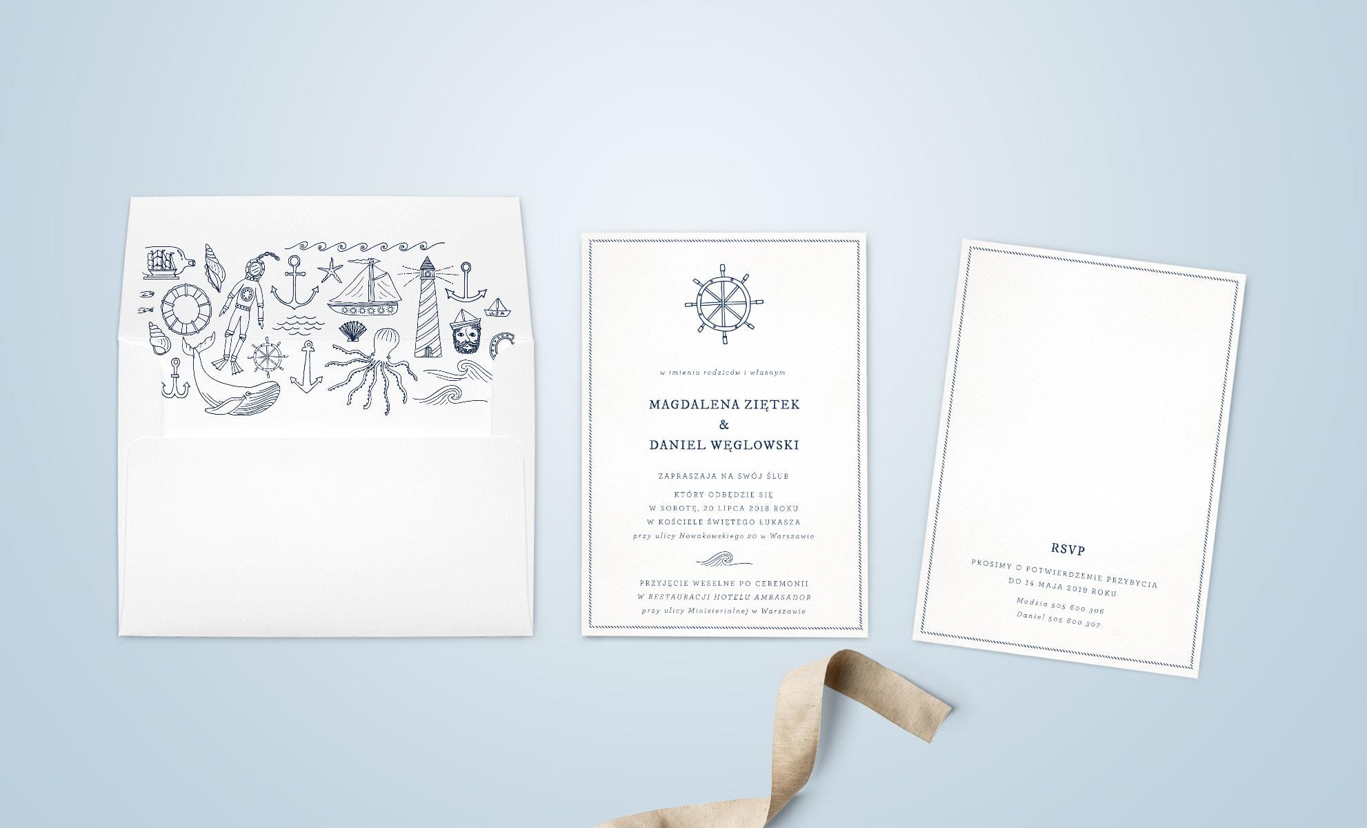 Zaproszenia ślubne w marynarski stylu