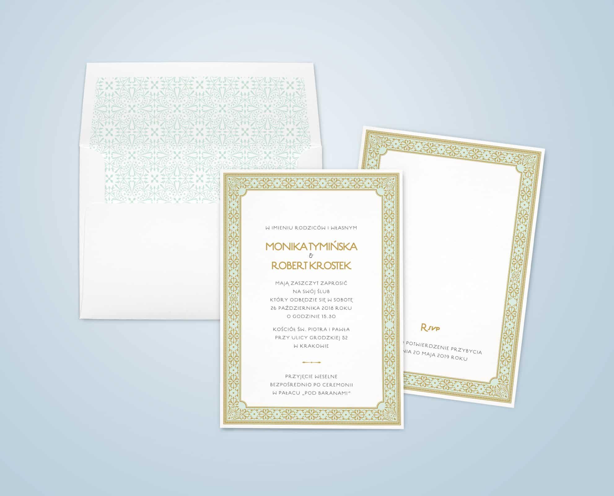 Zaproszenie w kolorze miętowo-złotym z elementami ornamentu