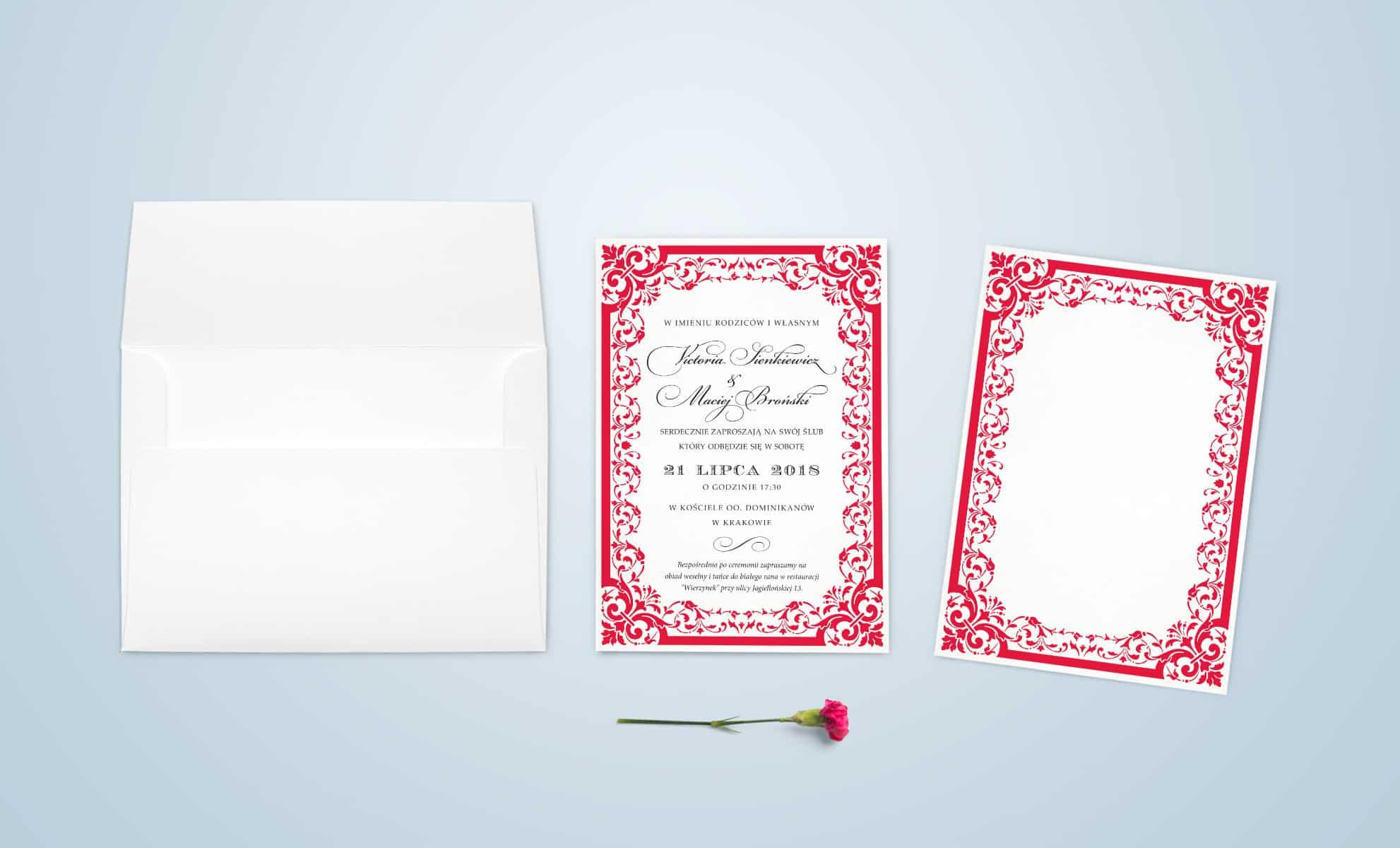 Czerwone zaproszenia z ornamentami i ozdobna czcionka