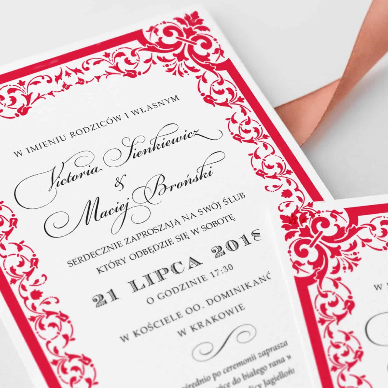 Zaproszenia ślubne Victoria z czerwonymi ornamentami dookoła