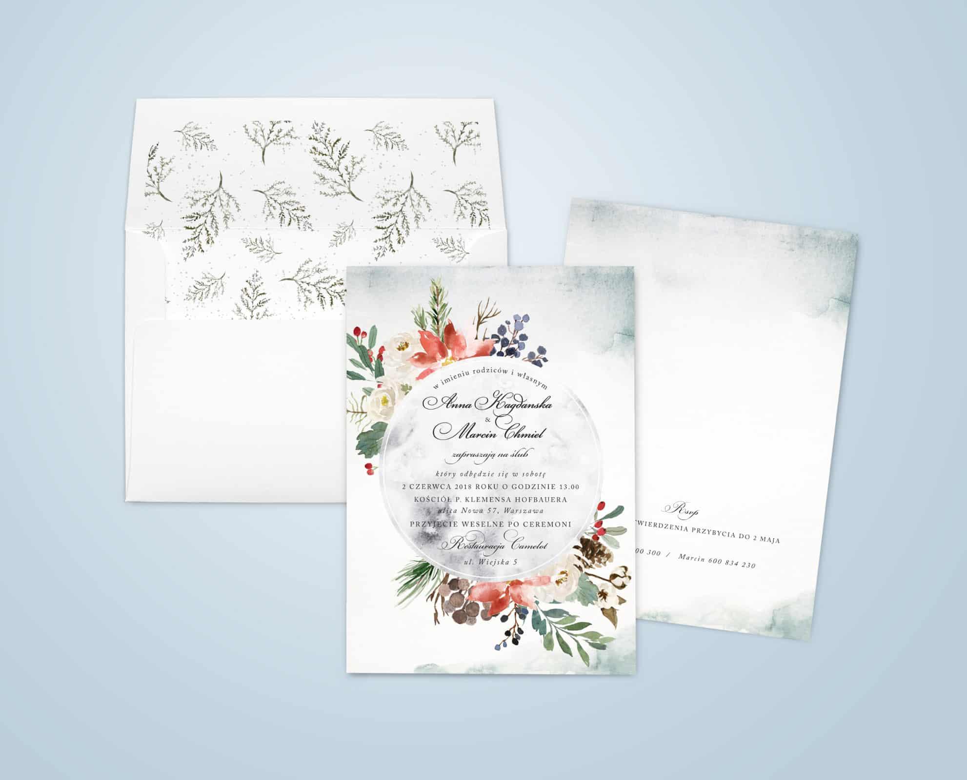 Zaproszenie w stylu zimowym z kwiatami i liściami