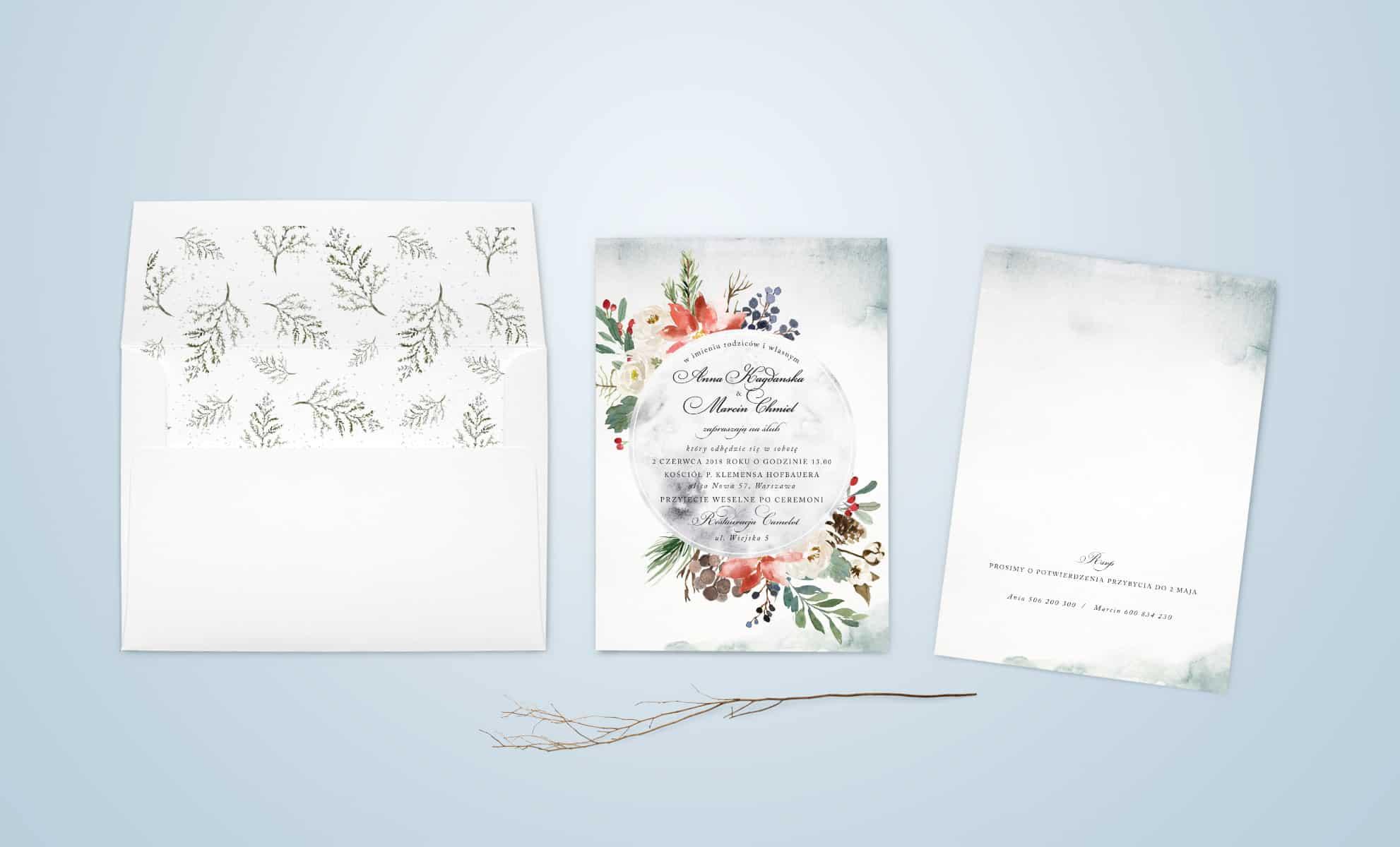 Zaproszenie z kolorowymi kwiatami z dodatkiem szarości