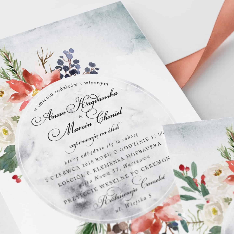 Zaproszenie w akwarelowe kwiaty z dekoracyjną czcionką