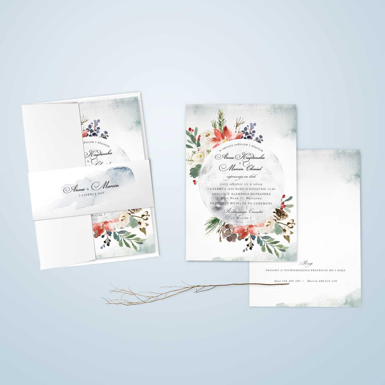 Zaproszenie w kwiatki i liście wykonane akwarelami z ozdobną czcionką i owijką