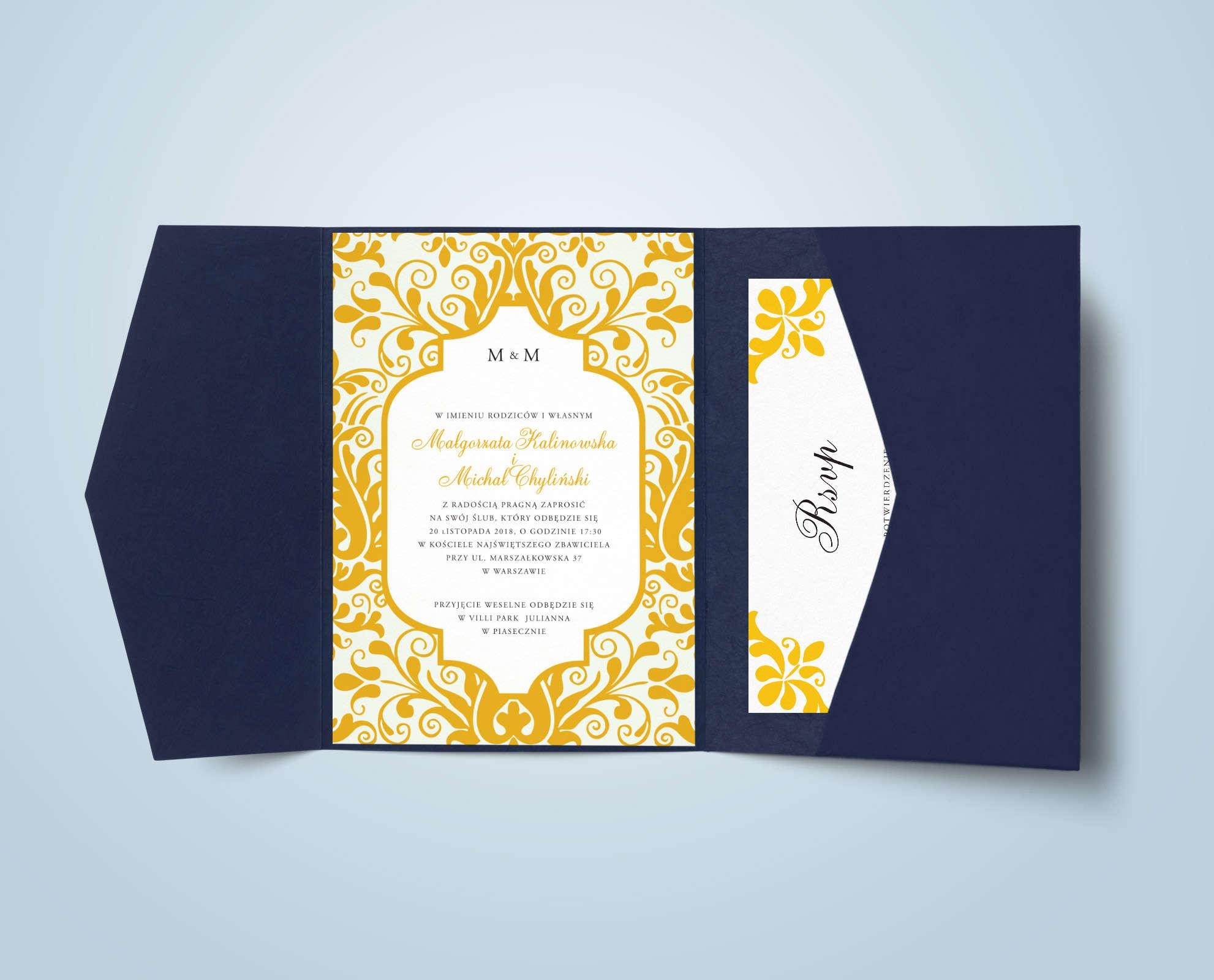 Zaproszenie w pięknym żółtym kolorze z ozdobnymi ornamentami