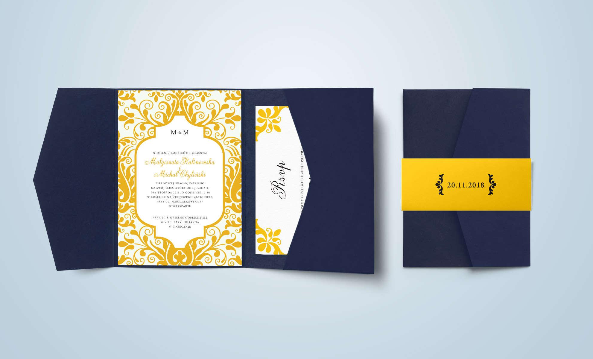 Zaproszenie z motywem ornamentalnym w kolorze żółtym