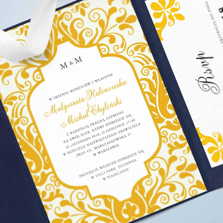 Zaproszenie z motywem koloru żółtego i zdobieniami