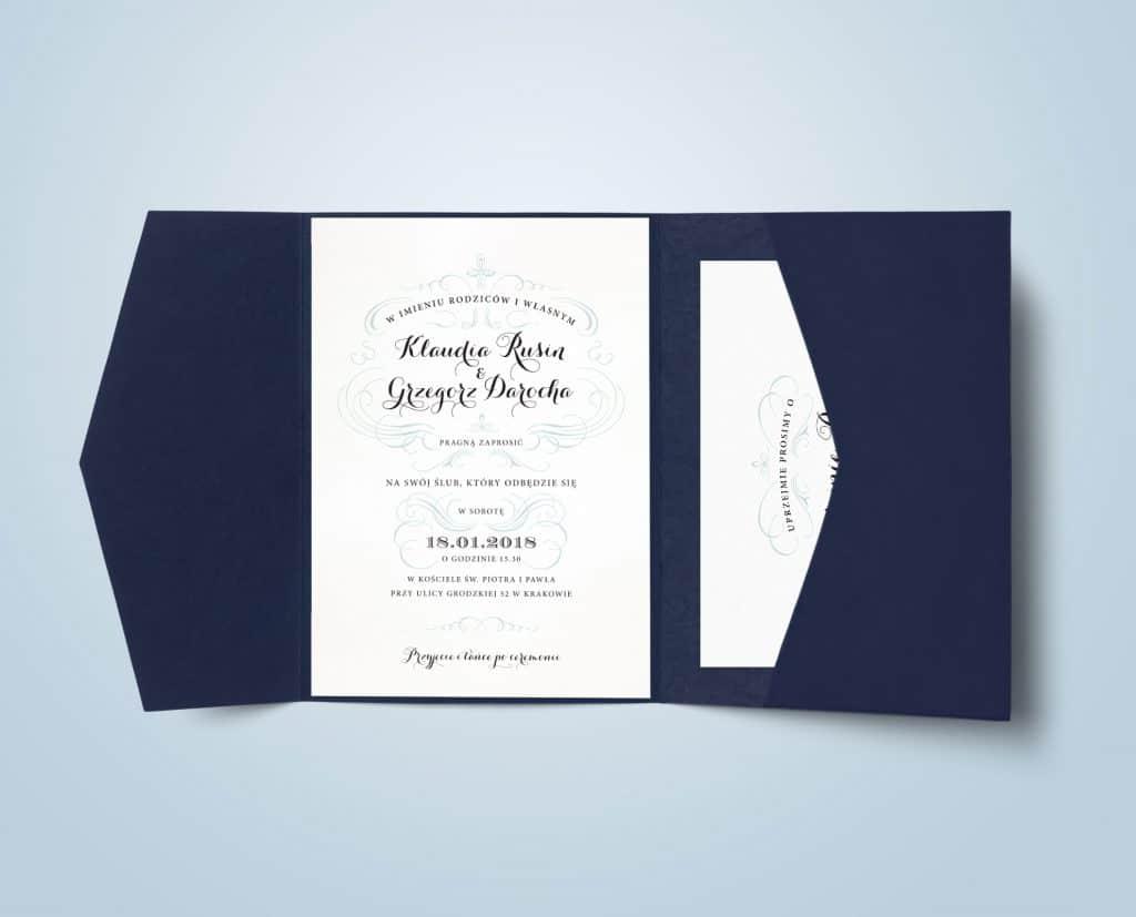 Zaproszenie w granatowym folderze navy