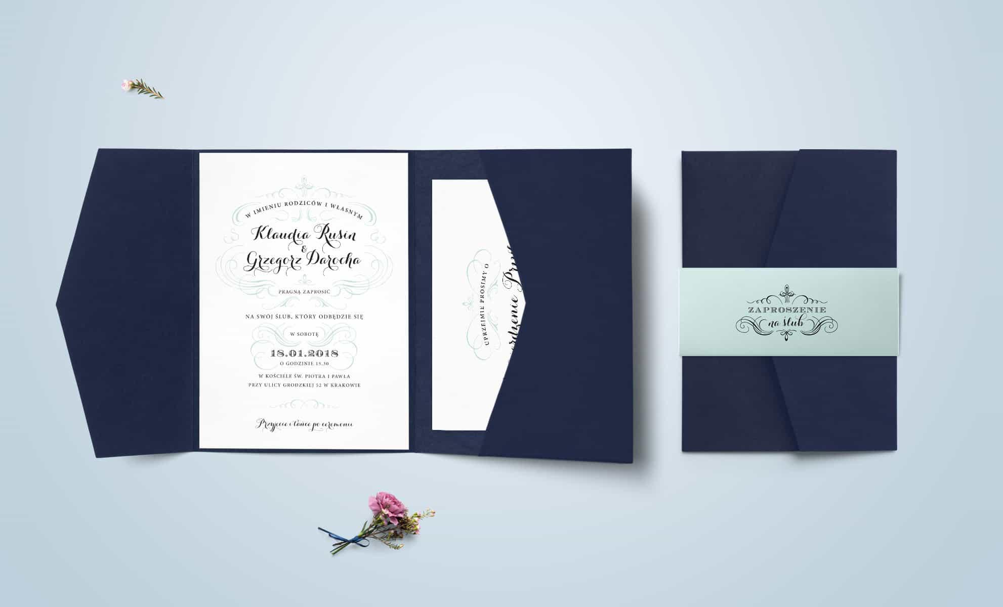 Zaproszenia ślubne w folderze navy z francuskimi akcentami