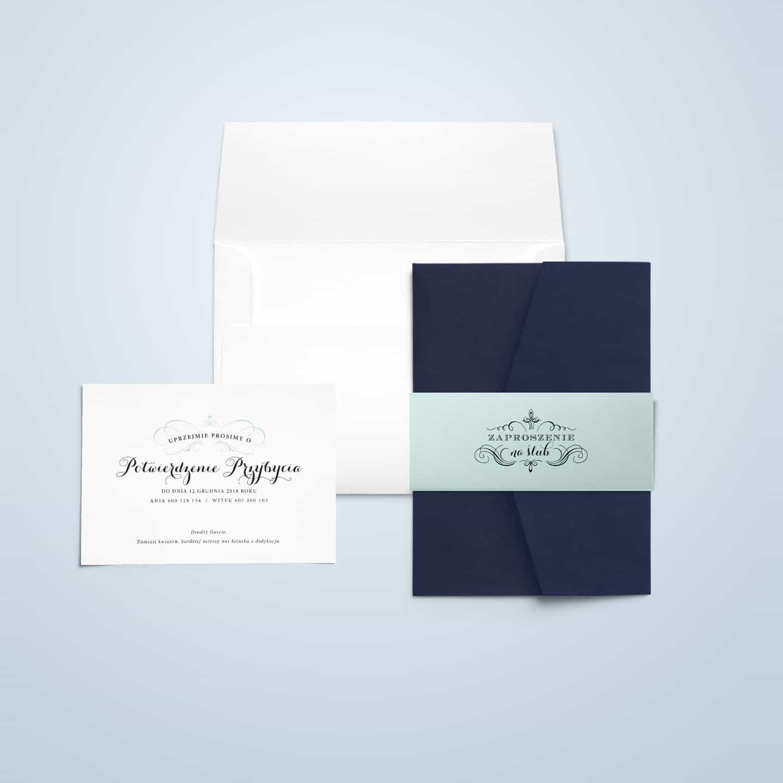 Granatowe zaproszenia z miętową owijką i rsvp, biała koperta