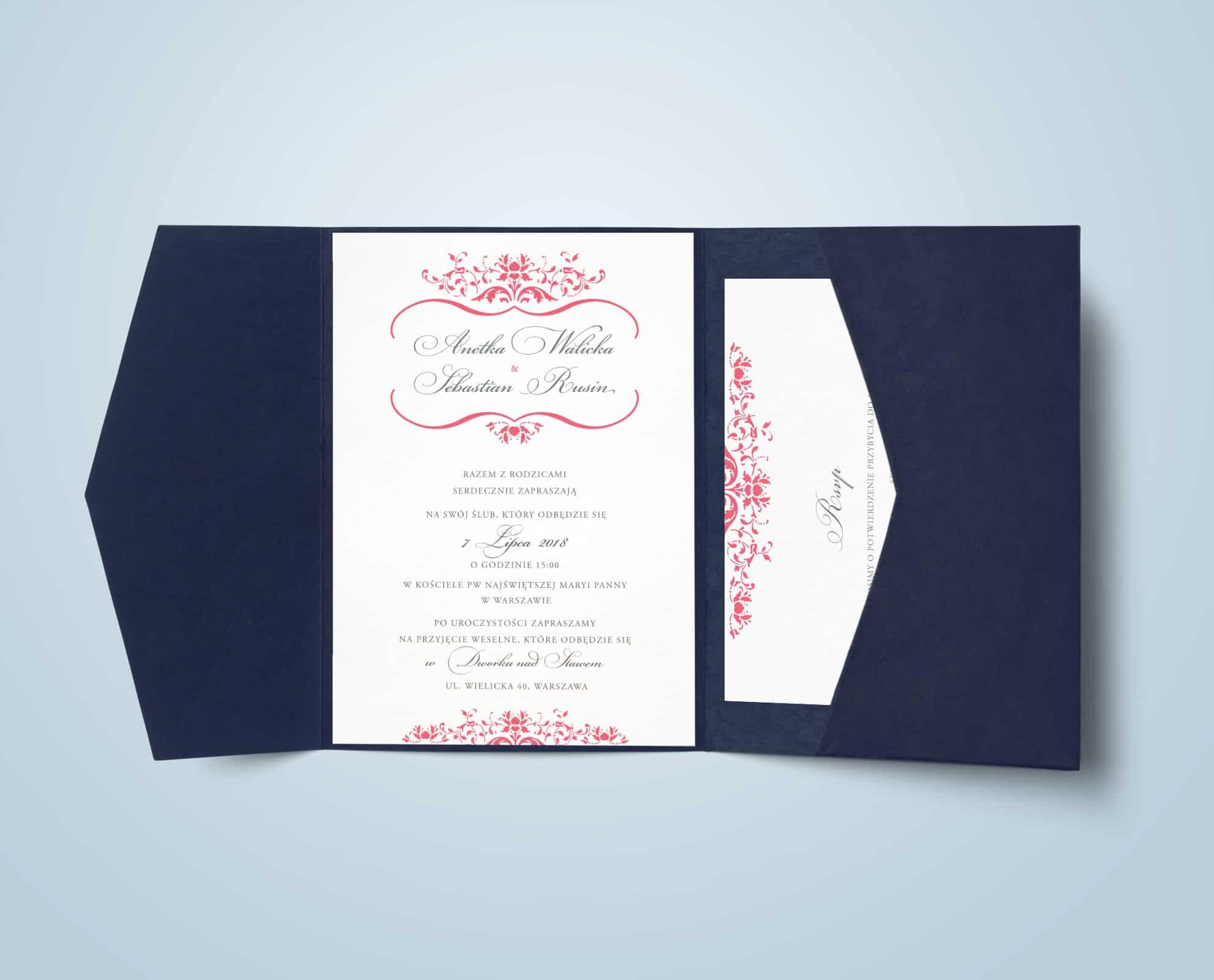 Zaproszenie ślubne w folderze z gustownymi ozdobnikami w kolorze różu