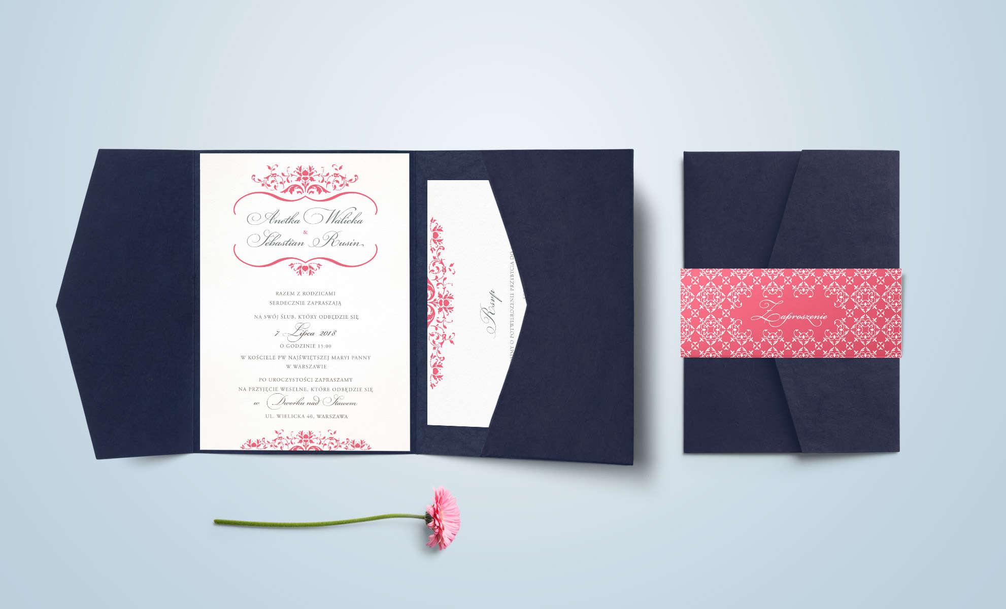 Zaproszenie Lara z różowym dodatkiem ornamentu