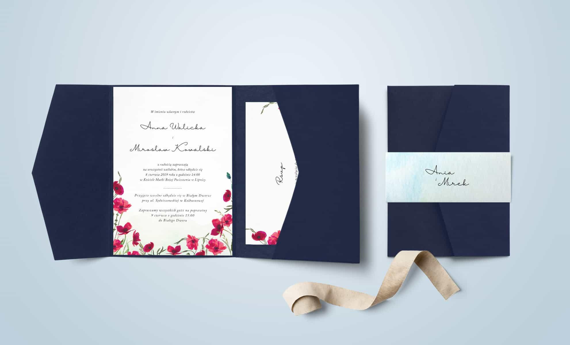 Zaproszenia z czerwonymi makami w folderze. Akwarelowe polne kwiaty.