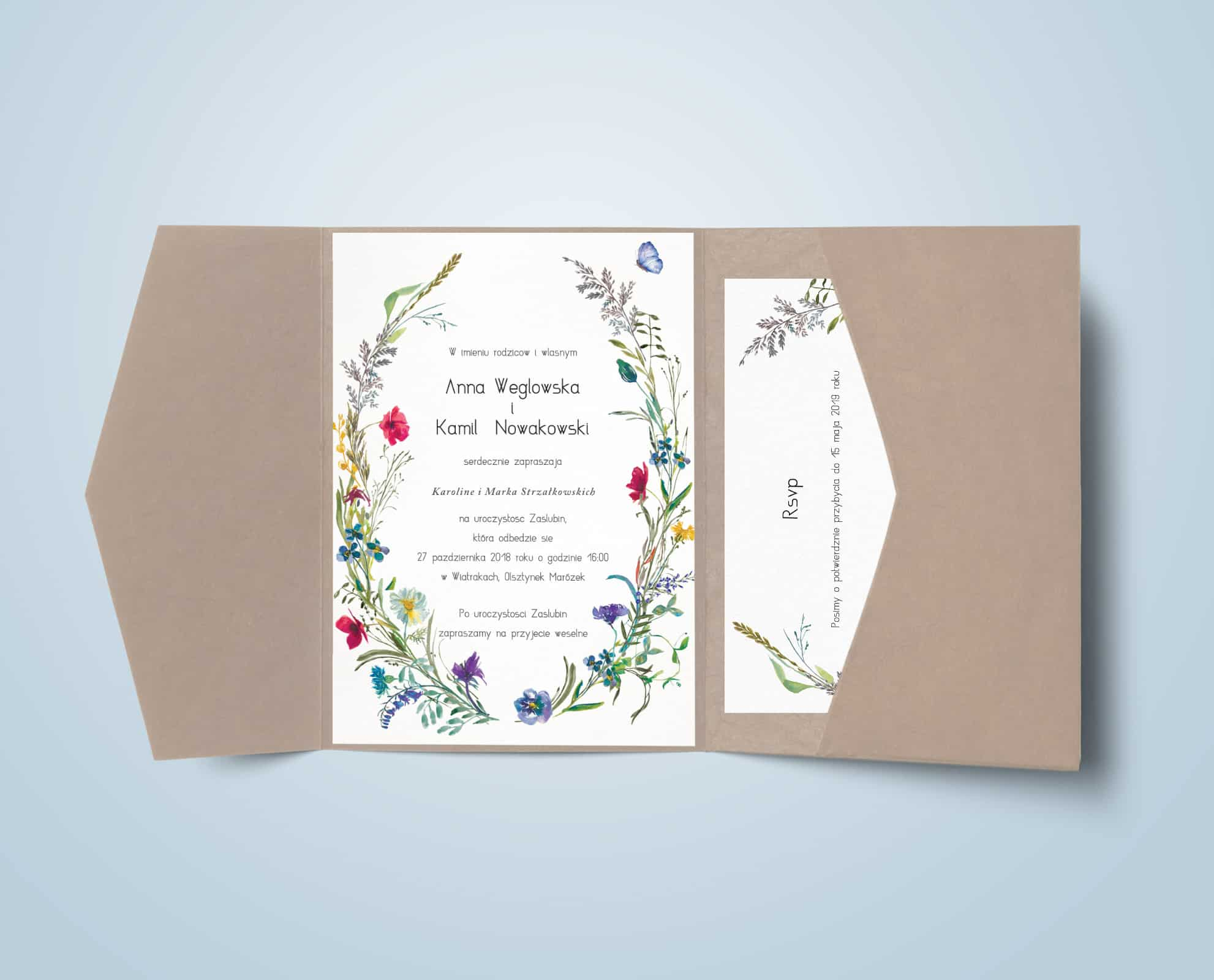 Zaproszenie z motywem kwiatków polnych, maków, chabrów, stokrotek w papierze EKO