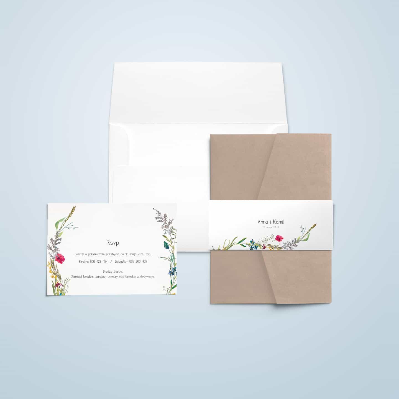 Zaproszenie w kompozycji kwiatów, naturalne zdobienia, maki, stokrotki, chabry