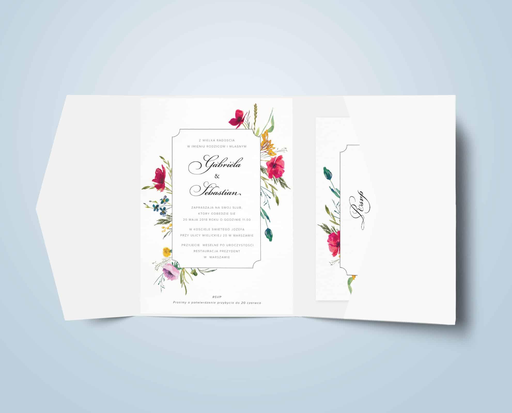 Zaproszenie rustykalne z motywem kwiatów polnych, maków, stokrotek, chabrów
