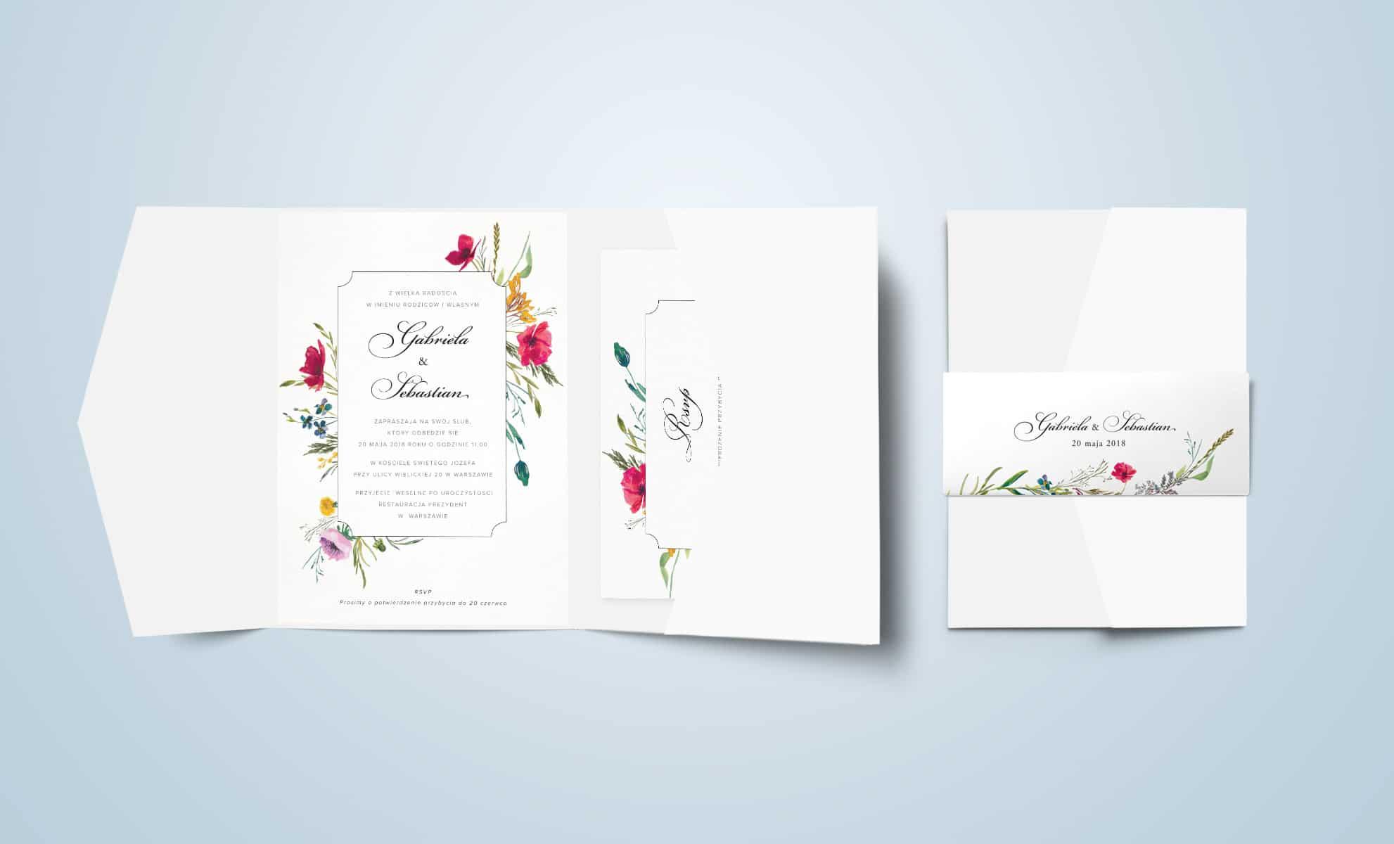 Zaproszenie w kompozycje polne kwiaty, maki, stokrotki z ozdobną owijką.