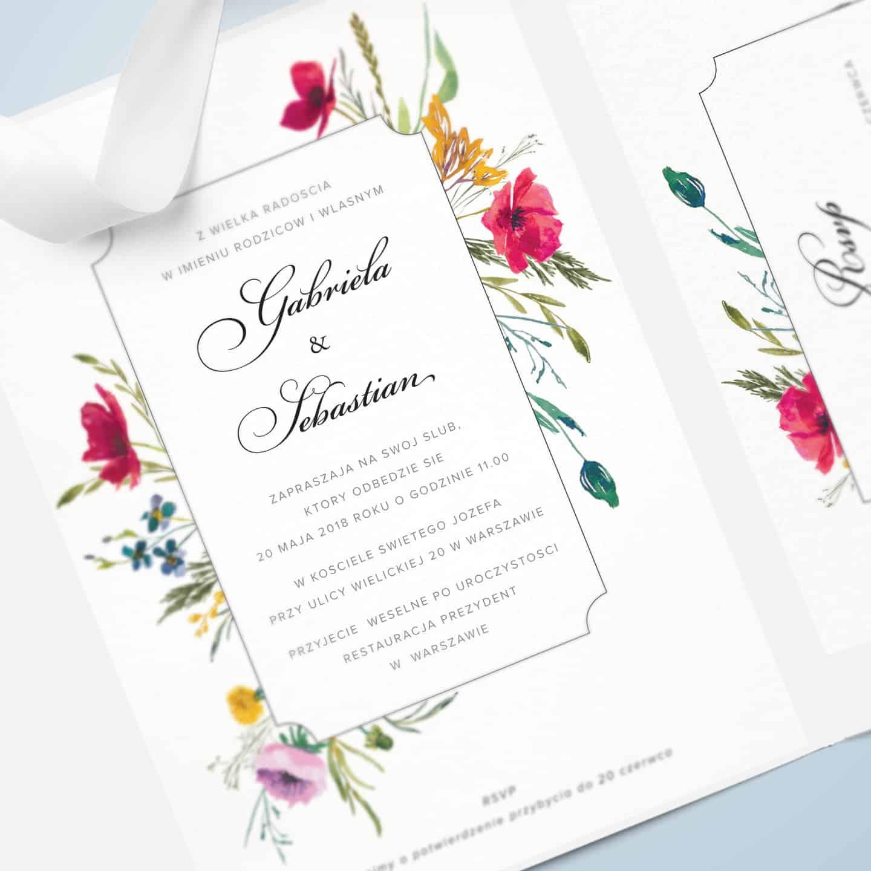 Zaproszenie z motywem kwiatów polnych z imitacją odręcznego pisma