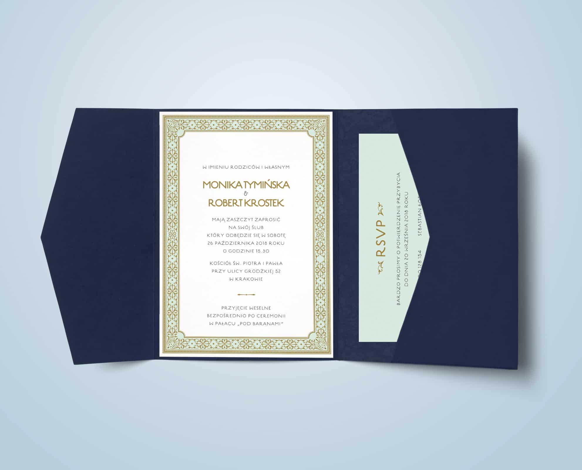 Zaproszenia w folderze sunday z miętowym tłem i złotymi ornamentami