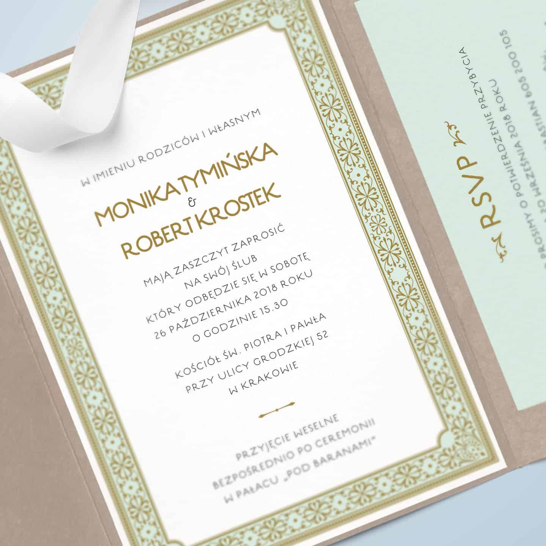 Zaproszenie w eleganckim stylu z elementami ornamentalnymi