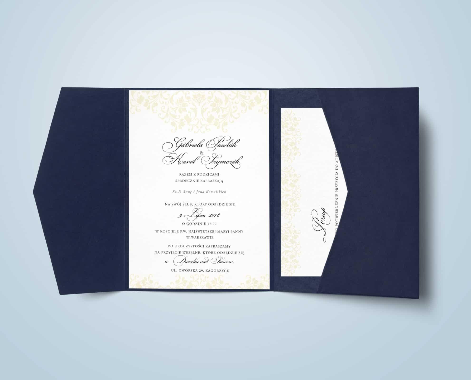 Zaprosznie w folderze navy z ozdobną czcionką