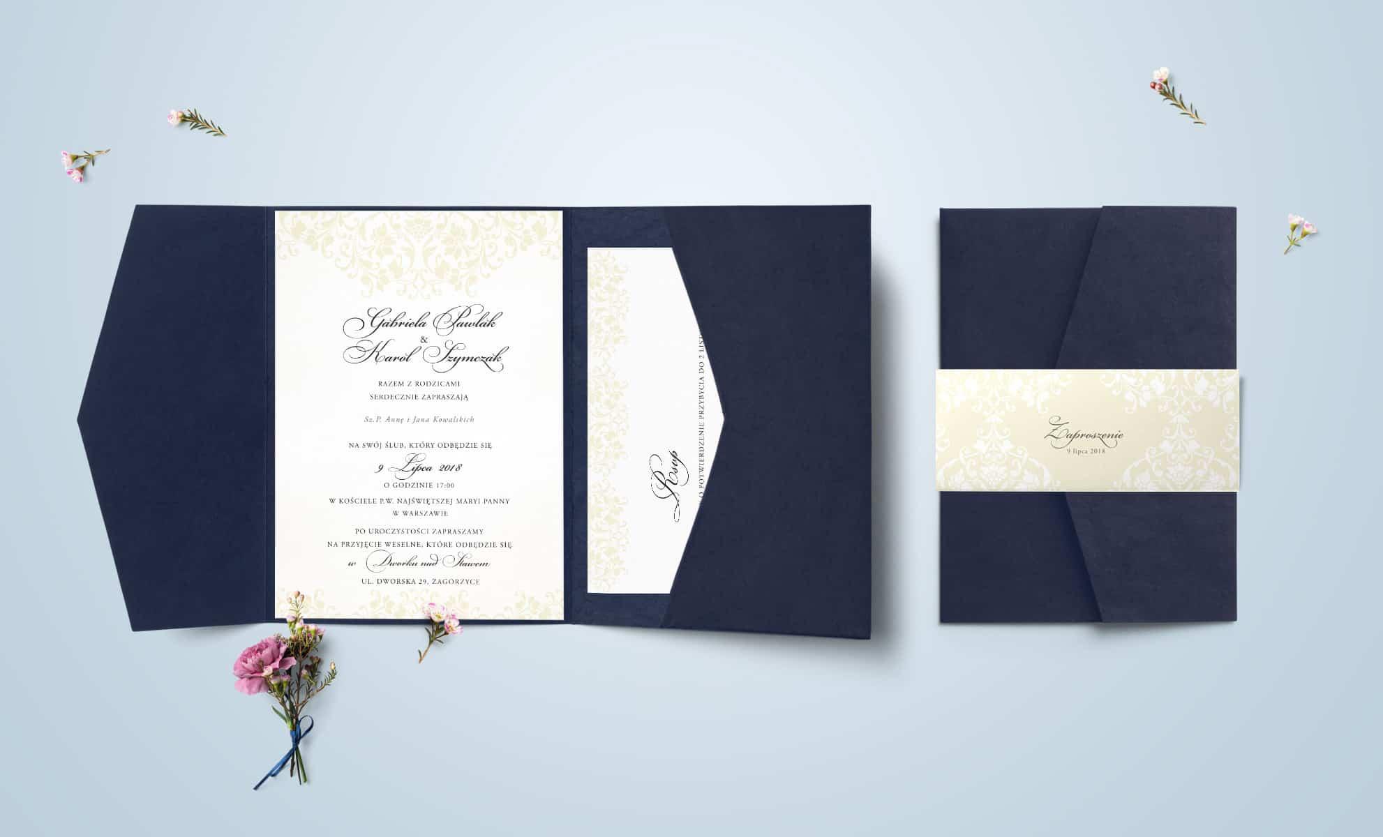 Zaproszenie w kolorze beżowym z imitacją odręcznego pisma