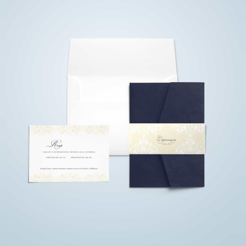 Zaproszenie eleganckie ze zdobieniami i dekoracyjną owijką