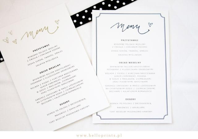 Karty menu na wesele do ściągnięcia za free