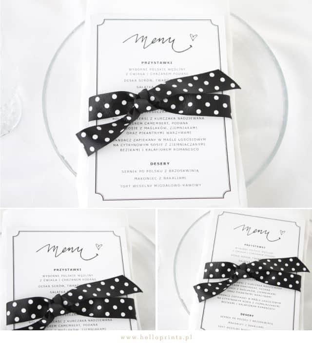 Karty menu w kolorze czarnym do pobrania za darmo.