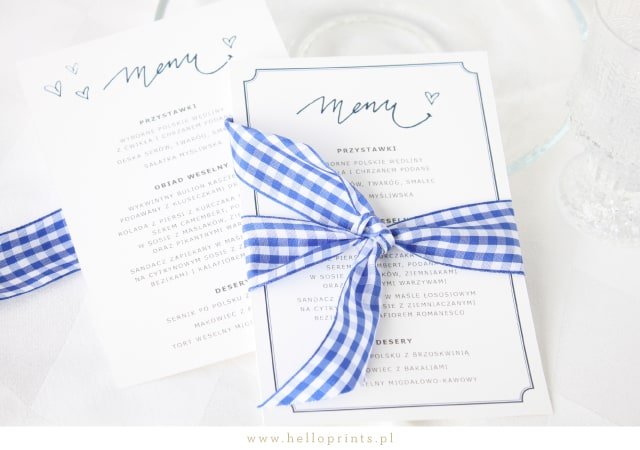Niebieskie karty menu za darmo