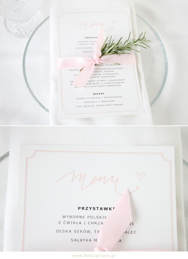 Karty Menu w kolorze różowym za darmo