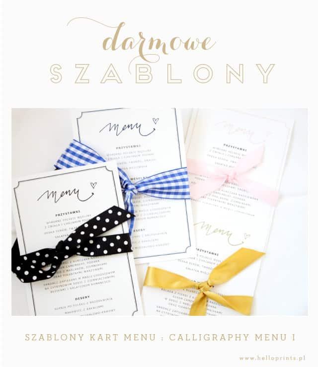 Darmowe szablony menu weselnego