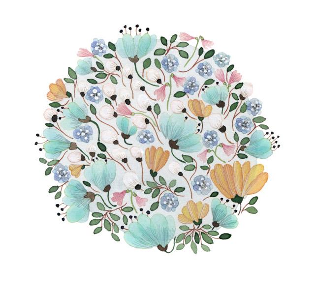 Kolorowe akwarelowe ilustracje kwiatowe