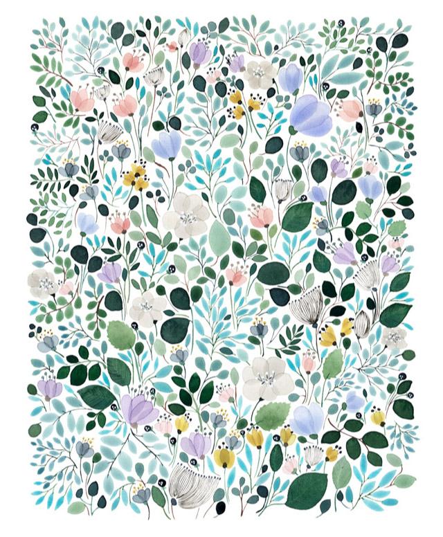 Piękne zielono niebieskie akwarelowe rysunki roślin