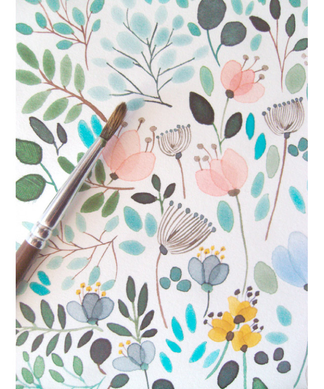 Piękne różowe ilustracje kwiatów i zielonych listków