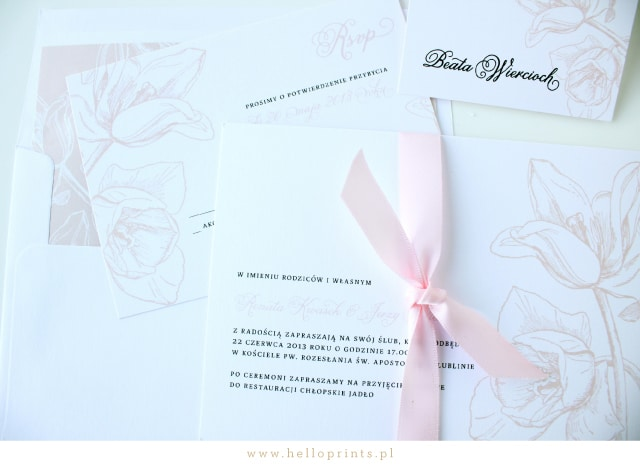 Karty RSVP do zaproszeń z tulipanami