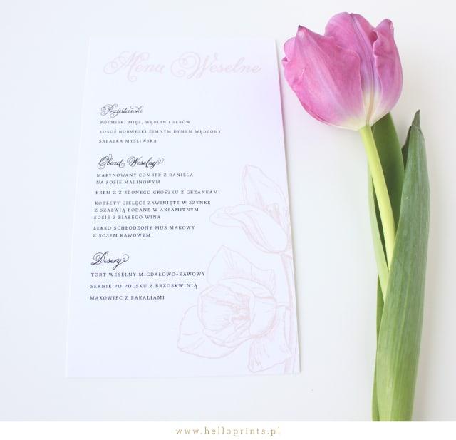 Karty menu na stoły weselne z tulipanem
