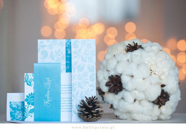 Zimowe, turkusowe zaproszenia ślubne Blossom