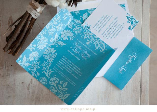 Zaproszenia ślubne Blossom w kolorze turkusowym