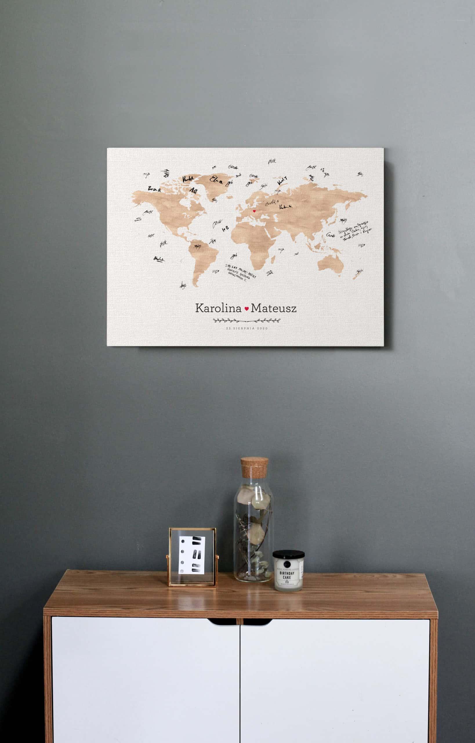 Księga gości w formie obrazu, do powieszenia, motyw mapy