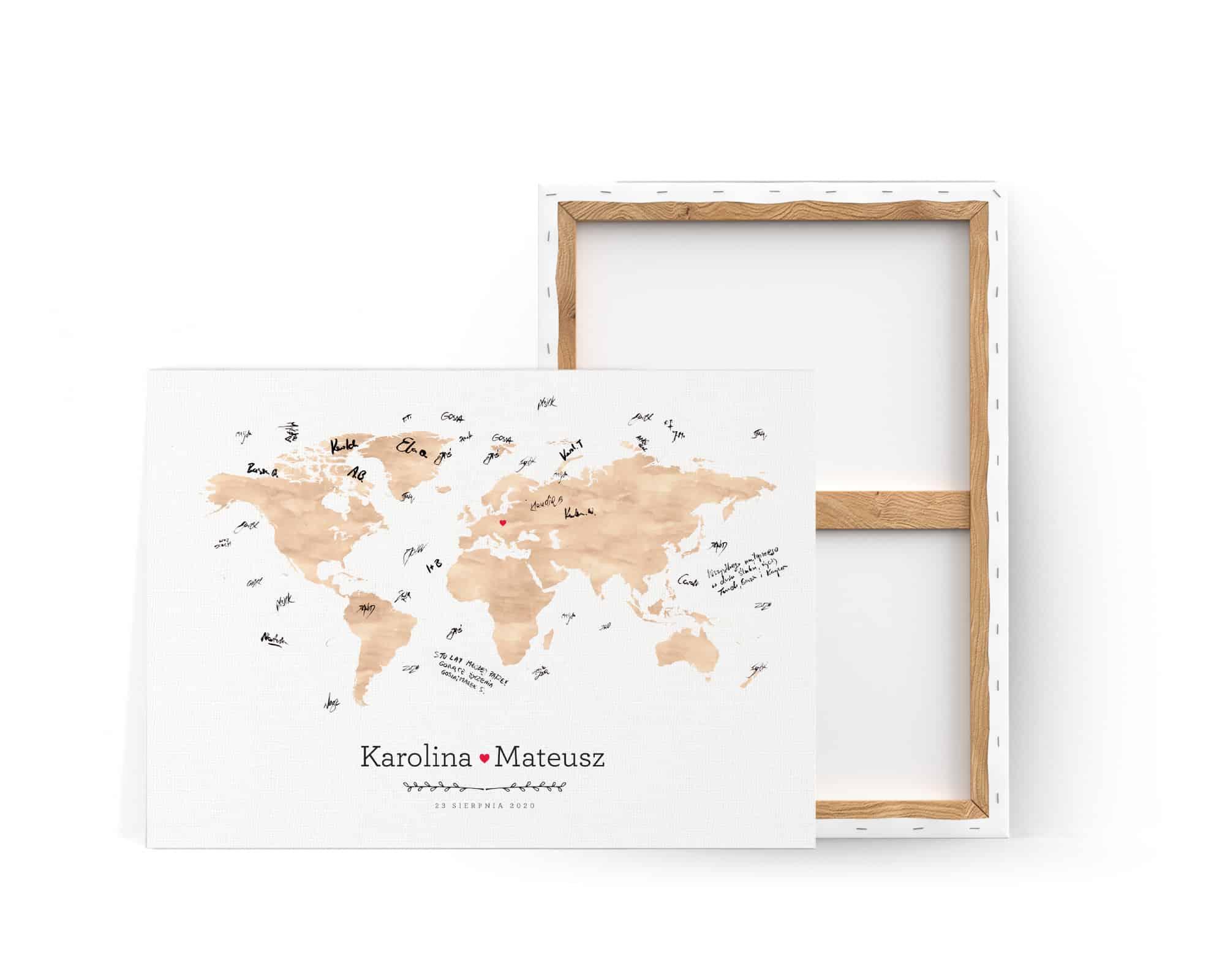 Księga gość w stylu podróżniczym z mapką w kolorze brązowym