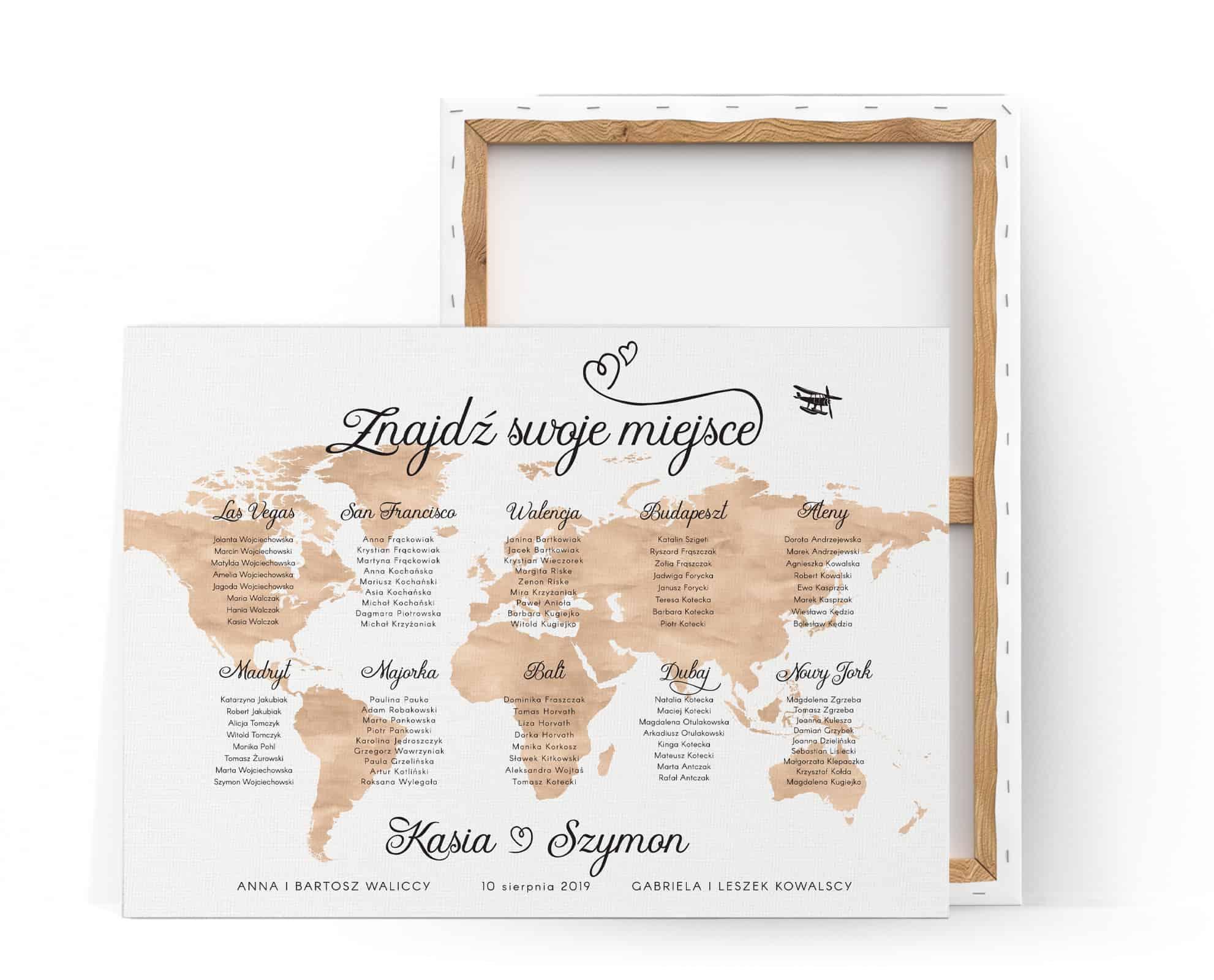 Plan stołów z motywem mapy świata w kolorze brązowym