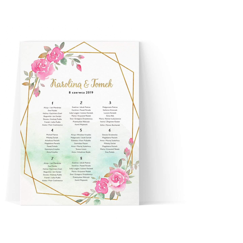 Plan stołów weselnych z geometryczną ramką i różami