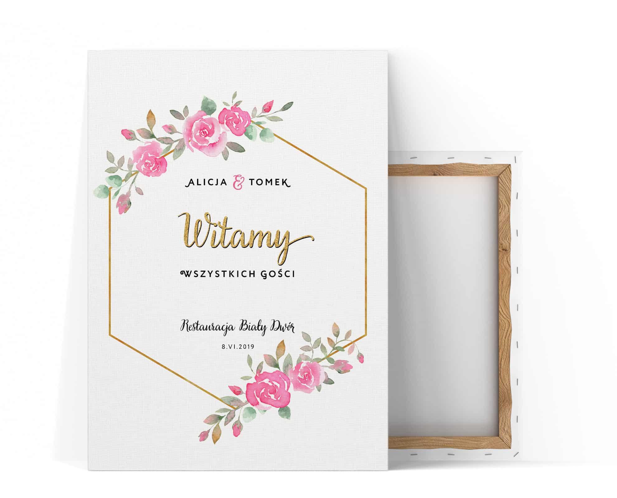 Tablica powitalna na wesele z motywem róż i złoty napisem